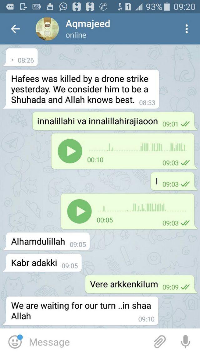 हफ़ीज़ुद्दीन के रिश्तेदार को मिला टेलीग्राम मैसेज