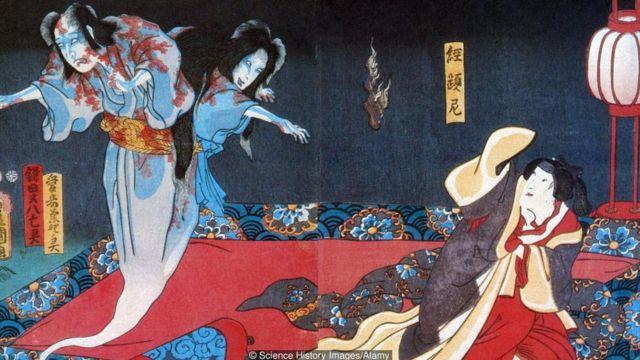 Ilustração japonesa de espíritos