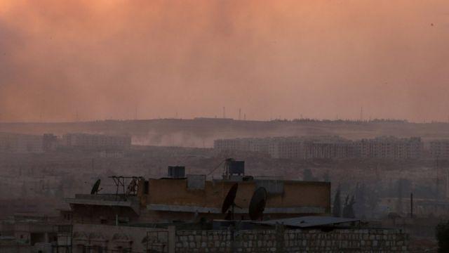 дорожная развязка Кастилло в провинции Алеппо после авиаударов (июнь 2016)