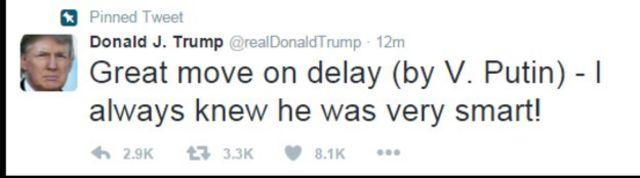 """كتب ترامب على صفحته على موقع تويتر واصفا رد فعل بوتين """"خطوة عظيمة - طالما علمت أنه شخص ذكي جدا""""."""