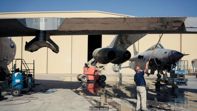 A B-52 is being restored at the Pima Air and Space Museum