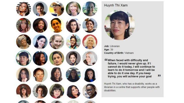 Chân dung chị Huỳnh Thị Xậm trên trang 100 Phụ nữ của BBC.