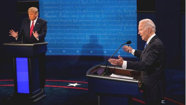 Donald Trump e Joe Biden no último debate presidencial