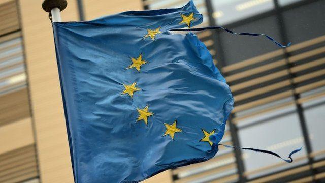 Shredded European Union flag