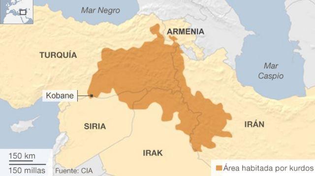 Mapa de las áreas habitadas por kurdos
