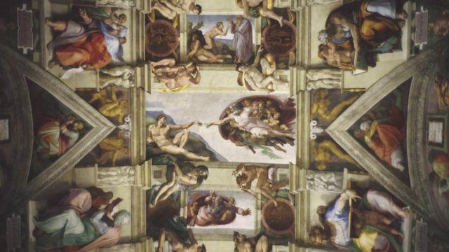 Chapelle Sixtine, avec la création au centre, par Michel-Ange