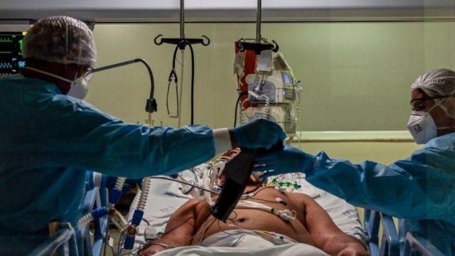 Una unidad de cuidado intensivo en Sao Paulo, Brasil