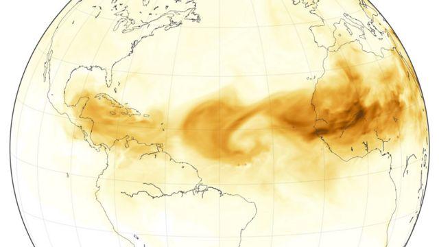 Mapa de la nube de polvo del Sahara llegando a América en junio de 1918