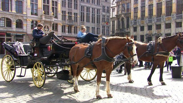 Tourist horse and carriage carts in Brussels