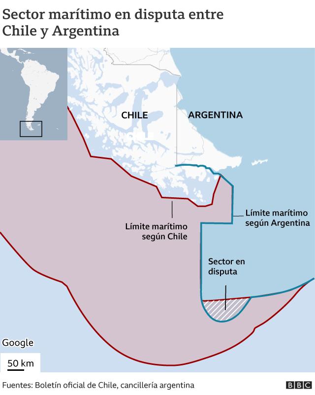 Mapa del sector marítimo en disputa
