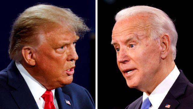 Trump y Biden debatiendo.