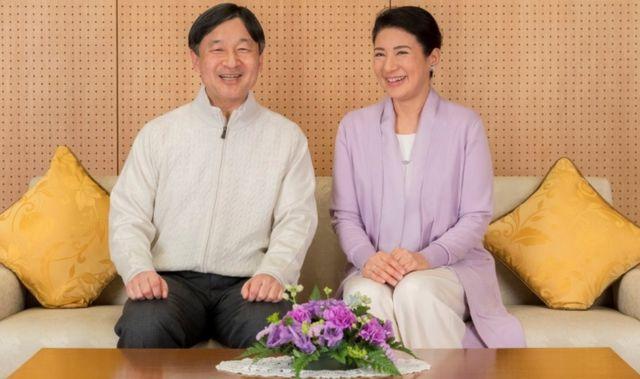 Japan's Crown Prince Naruhito and Crown Princess Masako smile at their residence, Togu Palace, in Tokyo