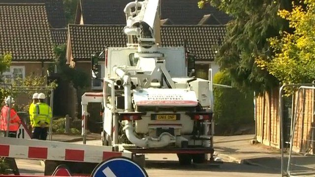 Cement lorry arrives to fill St Albans sinkhole