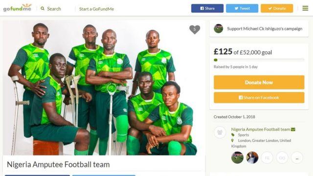 Gofundme page of Nigeria Amputee Football team