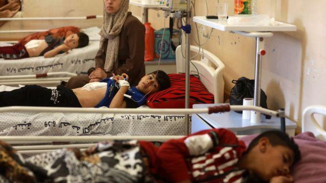 Filistinlilerin büyük bir kısmının tedavi gördüğü El Şifa Hastanesi'nde çocuk yaralılar.