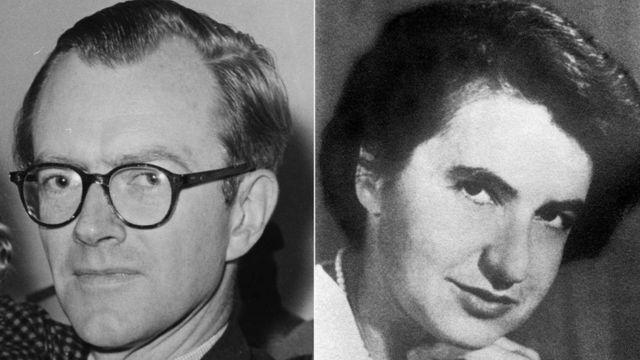 Rosalind Franklin (der) y Maurice Wilkins