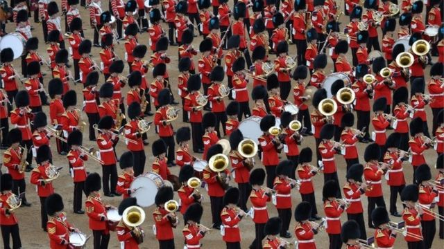 Soldiers taking part in Trooping the Colour