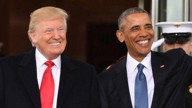 美國第44任總統奧巴馬和即將就任的第45任總統特朗普