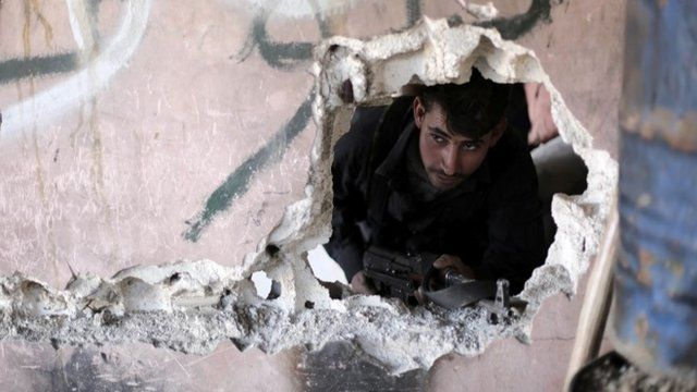 A Syrian rebel fighter from the Islamist