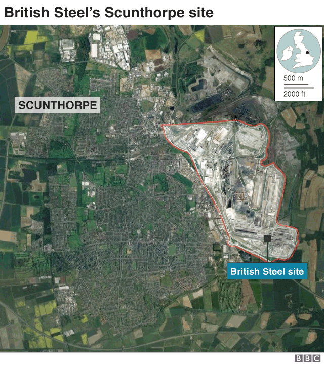 Map of Scunthorpe steel works
