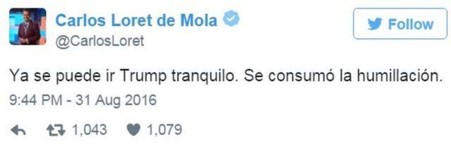 """Твит Карлоса Лорета де Молы: """"Трамп может спокойно возвращаться. Унижение доведено до конца"""""""