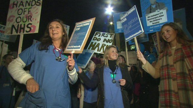 Junior doctors protesting about contract changes
