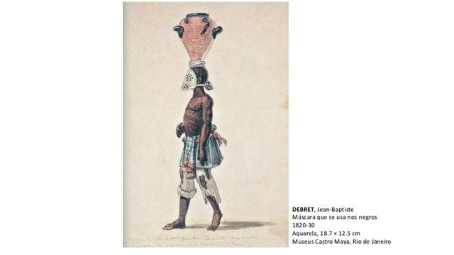 Reprodução de aquarela pintada por Jean-Baptiste Debret mostra um escravo 'tigre'