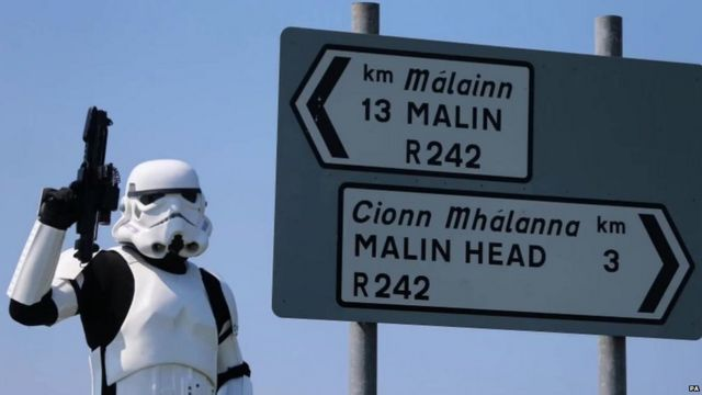 Storm trooper by Irish road sign