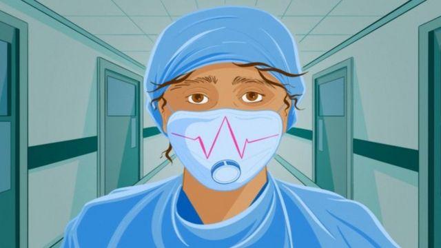 врач в маске, рисунок