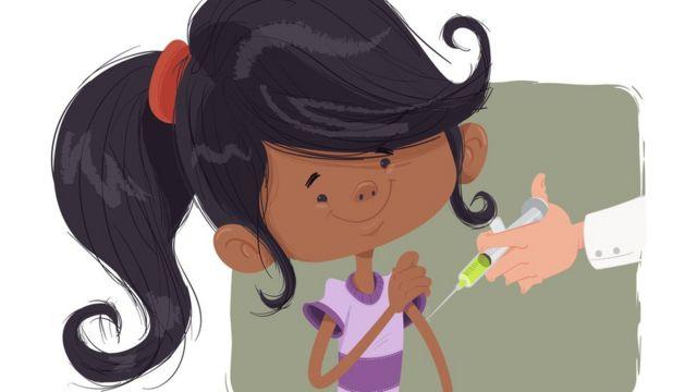 Ilustração mostra menina sorrindo e recebendo vacina