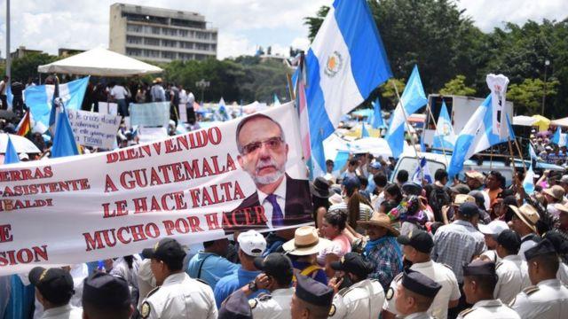 Protesta en Guatemala a favor de la Cicig.