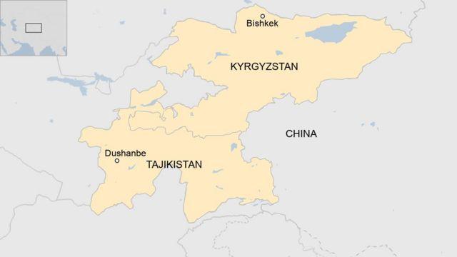 Peta Kirgistan dan Tajikistan