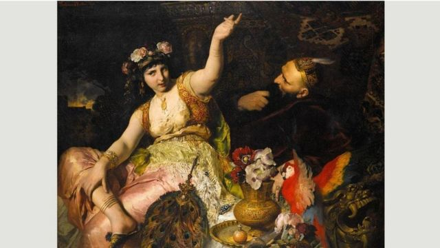 """""""Scheherezada y el Sultán Schariar"""", pintado por Keller, en 2880"""