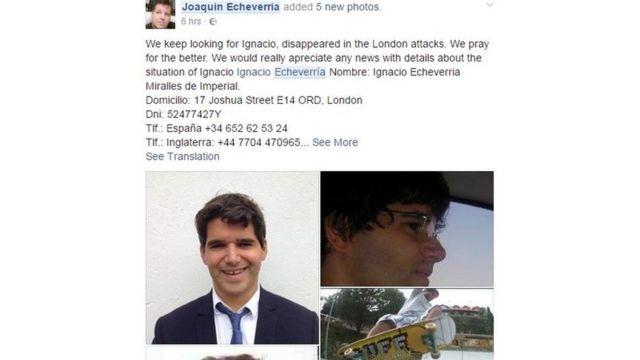 Joaquín Echeverría post on Facebook about missing Ignacio