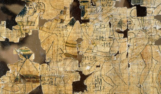 Detail from the Turin Papyrus depicting scenes of prostitutes, their clients and various positions for making love.  Ancient Egypt.  XIX dynasty c 1295 1186 BC