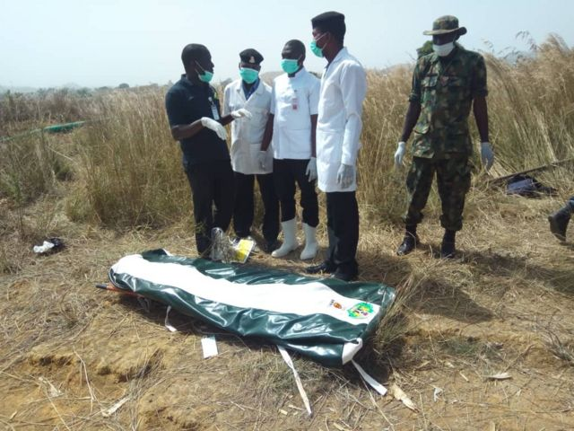 The body of late General Alkali in a body bag
