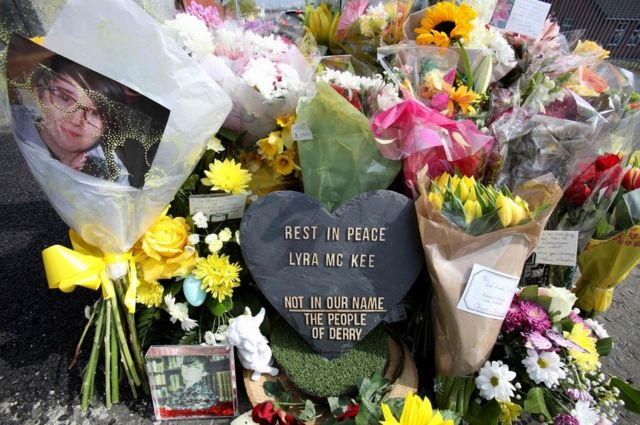 Floral tributes laid at the scene where Lyra McKee was shot in Londonderry