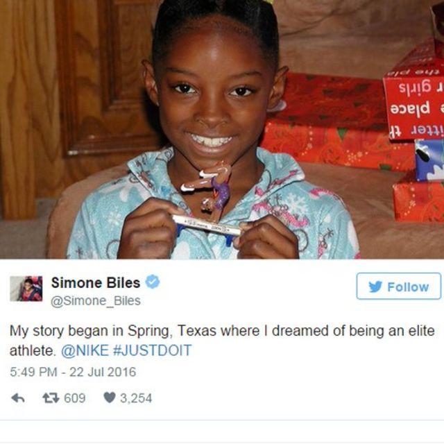 Simone Biles cuando era niña