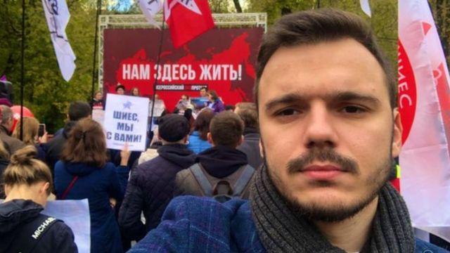 Ruslan Shaveddinov, Eylül ayında bir eylemdeyken