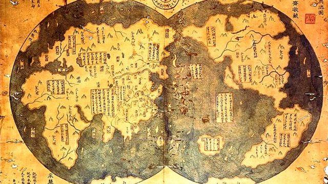 Mapa de las exploraciones de Zheng He