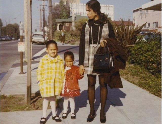 Kamala Harris, left, and her younger sister Maya with their mother Shyamala Gopalan Harris
