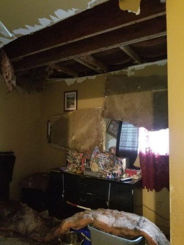 La casa de Tiffany después del huracán.