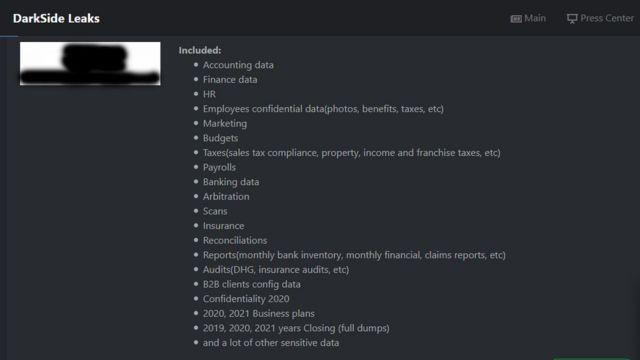"""رسالة من موقع """"دارك سايد"""" على دارك ويب تفصل نجاحها في الهجوم على شركة أمريكية كبرى"""
