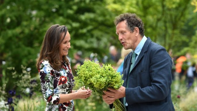 Gardeners' World presenter Monty Don speaks to the official florist of the royal wedding, Philippa Craddock