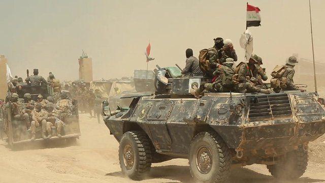 Tank and troops near Falluja