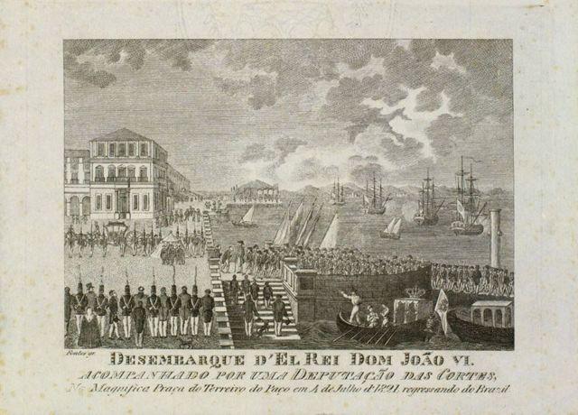 Gravura do desembarque de d. João 6º em Lisboa, no regresso a Portugal