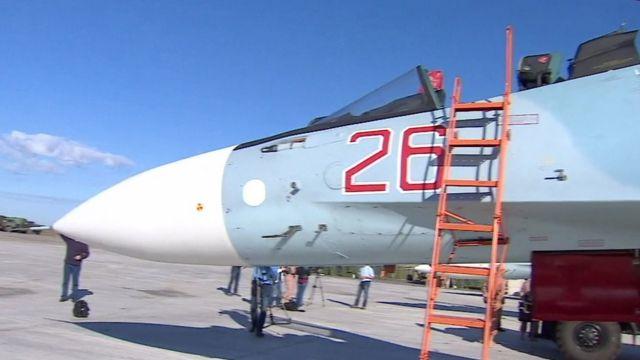 A Sukhoi Su-30 plane at a Russian airbase in Latakia, Syria