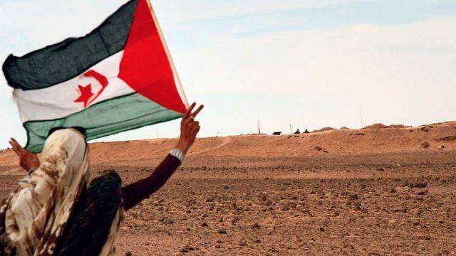A Sahrawi woman displays the Sahrawi flag before the Moroccan wall.