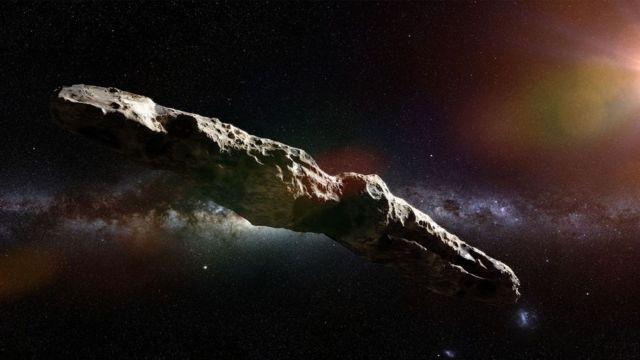 Visão de um artista do objeto Oumuamua
