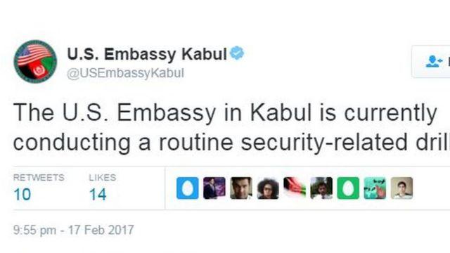 نشرت السفارة تغريدة تقول فيها إن تدريبا متعلقا بالإجراءات الأمنية يجري حاليا في مقرها في كابول.